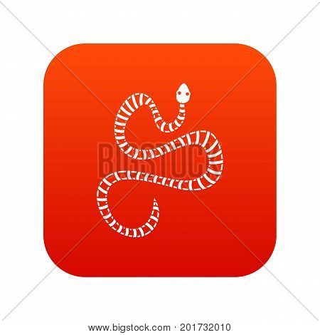White striped snake icon digital red for any design isolated on white vector illustration