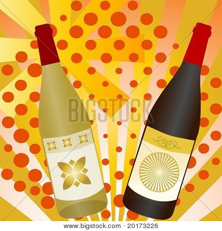 Celebrate! Wine botles on funky background ( use togeter or separate)