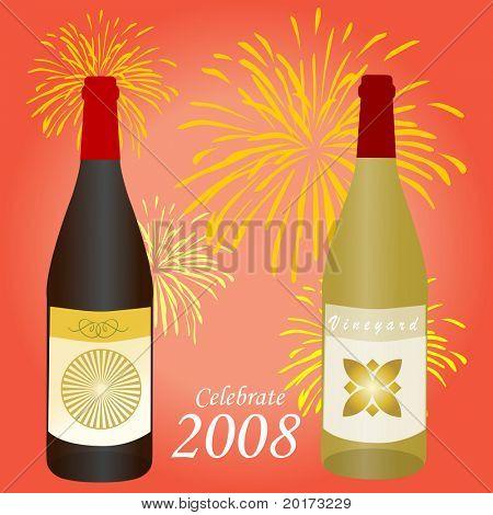 Celebrate 2008 wine bottles with fireworks