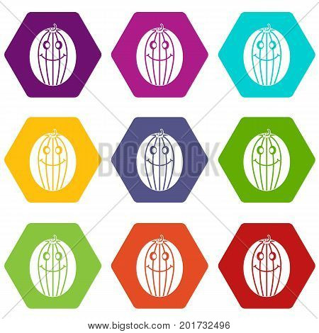 Ripe smiling melon icon set many color hexahedron isolated on white vector illustration