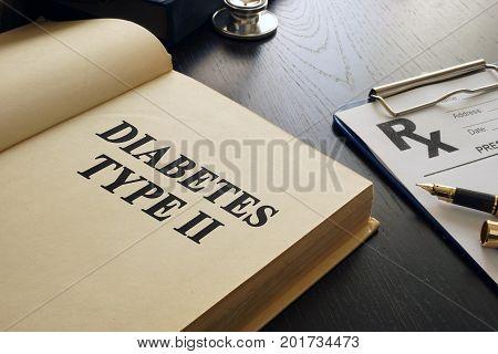 Diabetes mellitus type 2 written in a book.