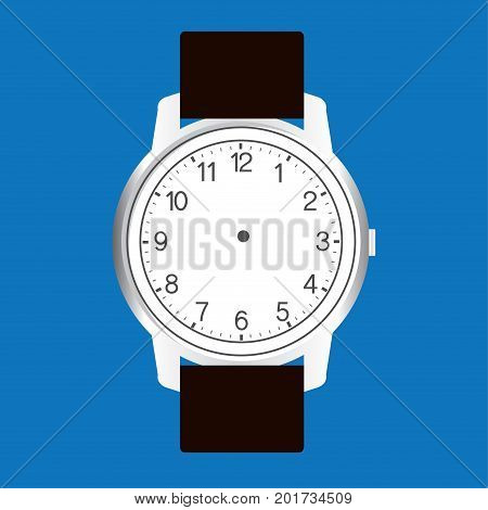 blank hand watch face vector on blue background  illustration