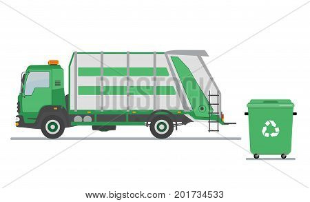 Garbage truck and garbage can on white background. Ecology and recycle concept. Vector illustration.