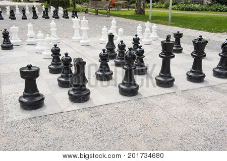 Chess figures on a playing field with started part