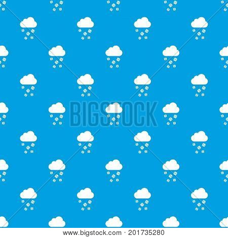 Cloud and hail pattern repeat seamless in blue color for any design. Vector geometric illustration