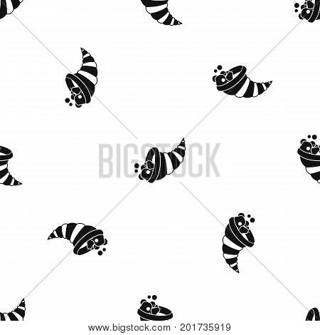 Thanksgiving cornucopia pattern repeat seamless in black color for any design. Vector geometric illustration
