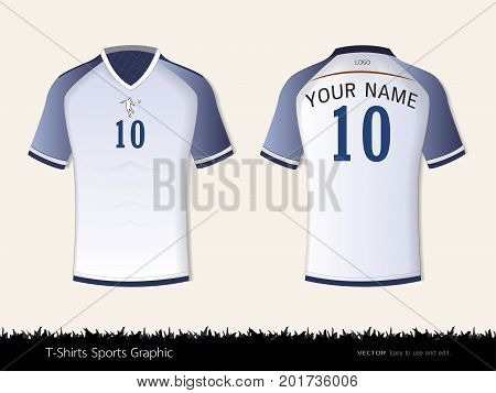 T-shirt sport design for football club, Front and back view soccer jersey uniform, Sport slim fit shirts apparel mock up, Graphic template vector Illustration eps 10.
