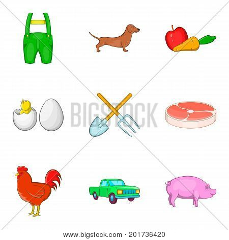 Stock icons set. Cartoon set of 9 stock vector icons for web isolated on white background