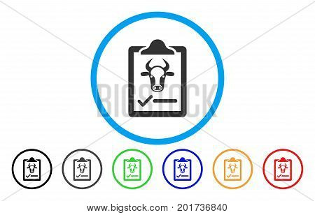 Cattle Contract vector rounded icon. Image style is a flat gray icon symbol inside a blue circle. Additional color versions are gray, black, blue, green, red, orange.