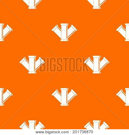 Sewerage pattern repeat seamless in orange color for any design. Vector geometric illustration