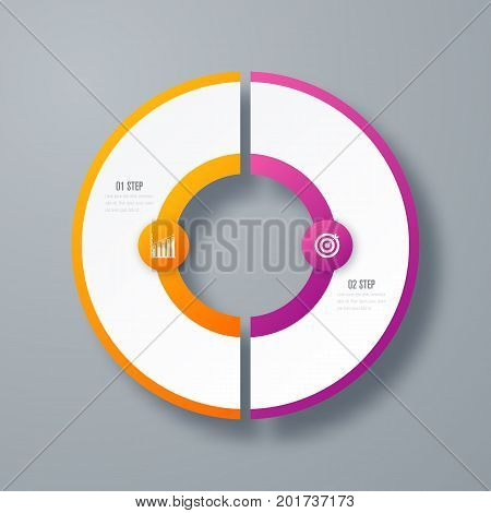 Infographics template 2 options with circles. Can be used for workflow layout, diagram, number options, step up options, web design, presentations