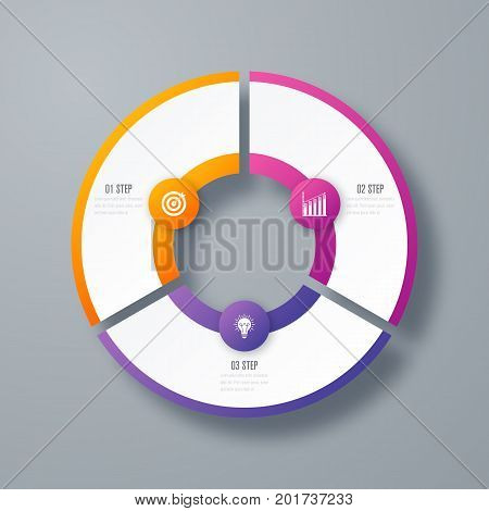 Infographics template 3 options with circles. Can be used for workflow layout, diagram, number options, step up options, web design, presentations