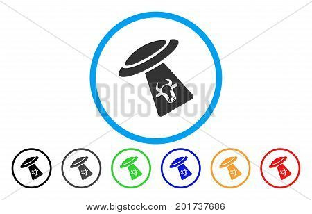 Cattle UFO Abduction vector rounded icon. Image style is a flat gray icon symbol inside a blue circle. Additional color versions are gray, black, blue, green, red, orange.