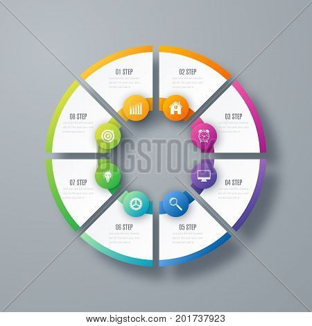 Infographics template 8 options with circles. Can be used for workflow layout, diagram, number options, step up options, web design, presentations