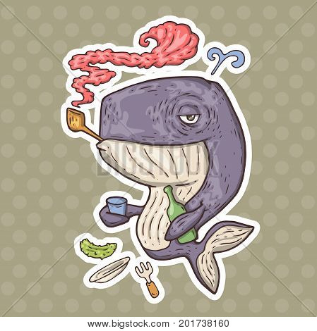 cartoon whale alcoholic. vector illustration for web and print.