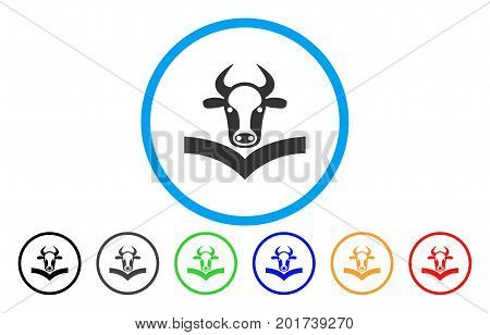 Cow Handbook vector rounded icon. Image style is a flat gray icon symbol inside a blue circle. Bonus color versions are gray, black, blue, green, red, orange.