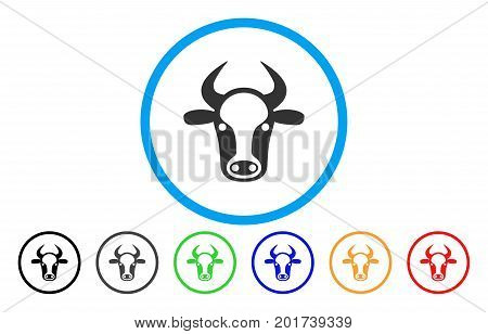 Cow Head vector rounded icon. Image style is a flat gray icon symbol inside a blue circle. Bonus color variants are grey, black, blue, green, red, orange.