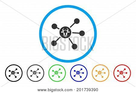 Cow Links vector rounded icon. Image style is a flat gray icon symbol inside a blue circle. Bonus color versions are grey, black, blue, green, red, orange.