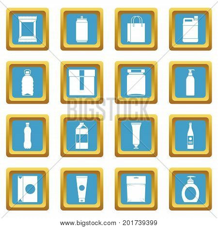 Packaging items icons set in azur color isolated vector illustration for web and any design