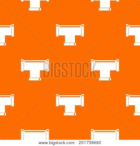 T pipe connection pattern repeat seamless in orange color for any design. Vector geometric illustration