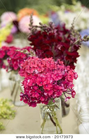 flowers in mason jars - country style - bright colors with blurs