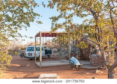 HOADA NAMIBIA - JUNE 27 2017: A campsite at the Hoada Rest Camp on the C40-road between Kamanjab and Palmwag in the Kunene Region of Namibia