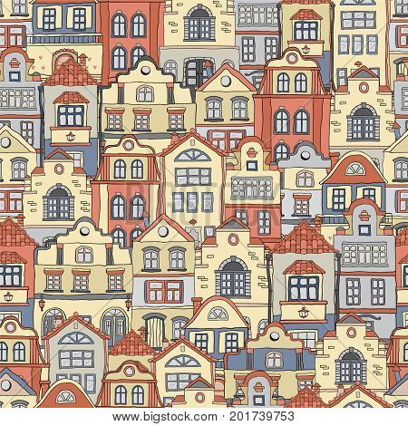 Seamless pattern with doodles colored scandinavian houses . Vector background .Brown shades .