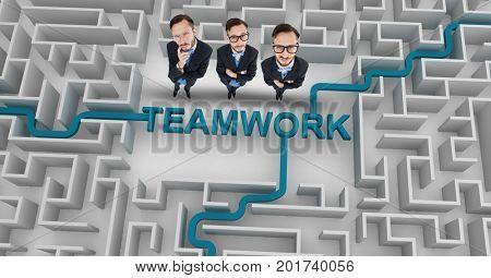 Digital composite of Three businessmen standing in maze with teamwork text