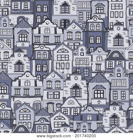 Seamless pattern with doodles scandinavian houses . Vector background .Twilight color shades .