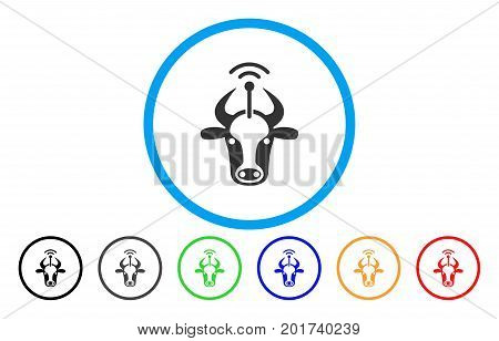 Cow Radio Transmitter vector rounded icon. Image style is a flat gray icon symbol inside a blue circle. Bonus color variants are gray, black, blue, green, red, orange.