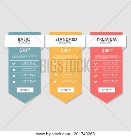 Set offer tariffs. set pricing table, order, box, button, list with plan for website in flat design