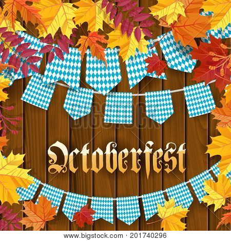 Oktoberfest .Traditional German autumn festival of beer background.TGarlands and flags with traditional decor on wooden background with frame of autumn leaves. Cartoon flat style vector illustration
