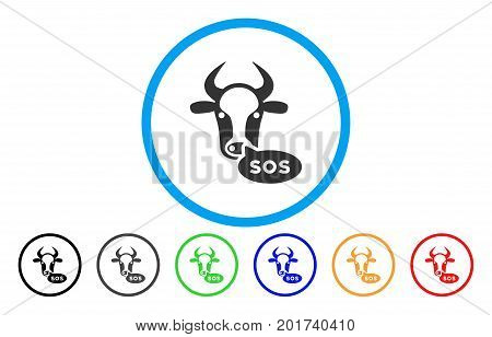 Cow Sos Message vector rounded icon. Image style is a flat gray icon symbol inside a blue circle. Bonus color versions are gray, black, blue, green, red, orange.