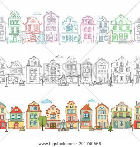 Seamless border pattern with cute houses . Vector doodles