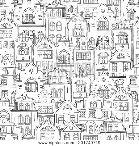 Seamless black contour pattern with houses . Vector doodles