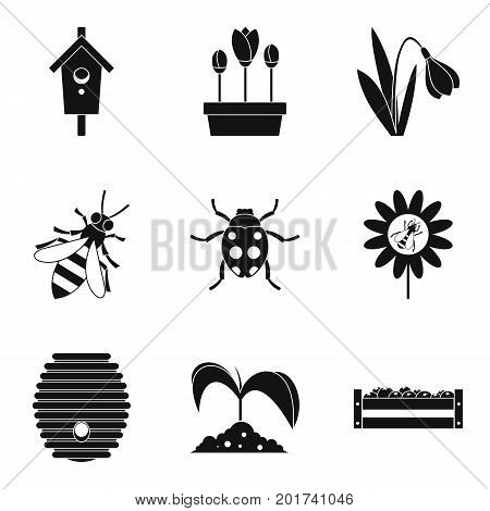 Crop icons set. Simple set of 9 crop vector icons for web isolated on white background