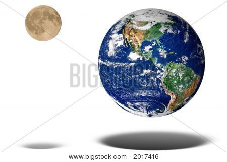 Earth And Moon Floating