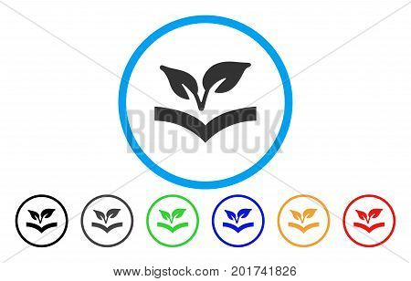 Flora Knowledge vector rounded icon. Image style is a flat gray icon symbol inside a blue circle. Bonus color versions are gray, black, blue, green, red, orange.