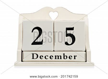 Decorative calendar of cubes with date of December 25 isolated on white background