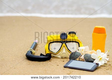 Summer on beach and accessories sung lasses sunblock hat snorkel slippers