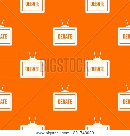 TV with the Debate inscription on the screen pattern repeat seamless in orange color for any design. Vector geometric illustration