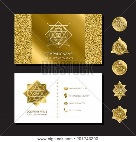 Vector golden glitter card with sacred shapes