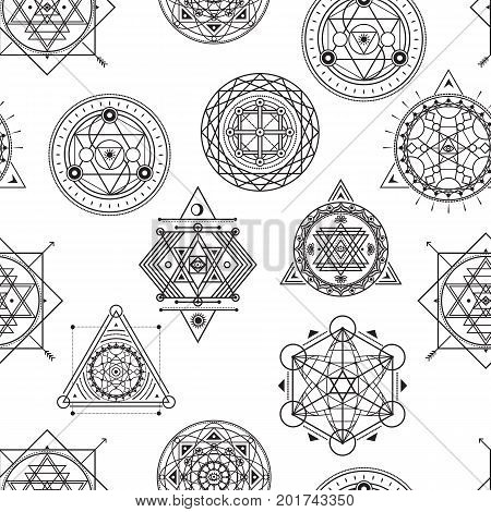 Seamless vector pattern with sacred black line shapes on white background