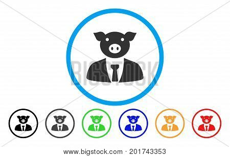 Pig Boss vector rounded icon. Image style is a flat gray icon symbol inside a blue circle. Bonus color variants are gray, black, blue, green, red, orange.