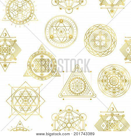Seamless vector pattern with sacred golden shapes . Background with golden elements .