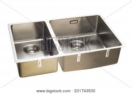 kitchen sink stainless steel double on a white background isolation