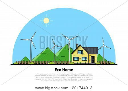 picture of a private house and wind turbines with green hills on background, flat line style concept of eco home, renewable energy, ecology