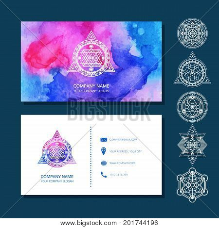 Watercolor business cards include set of sacred symbols. Used clipping mask.