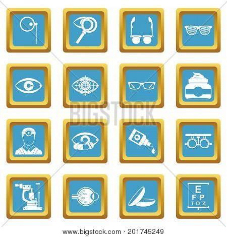 Ophthalmologist tools icons set in azur color isolated vector illustration for web and any design
