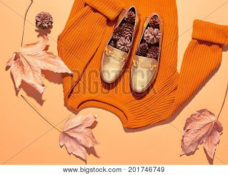 Fall Fashion Woman Clothes Set. Design.Trendy Sweater. Fashion Stylish Glamour Shoes. Yellow Fall Leaves on yellow background.